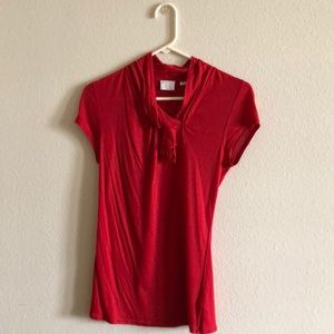 Red Bordeaux shirt with tie-front neckline